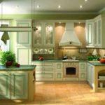 Современная кухня в оливковом цвете с прованской атмосферой