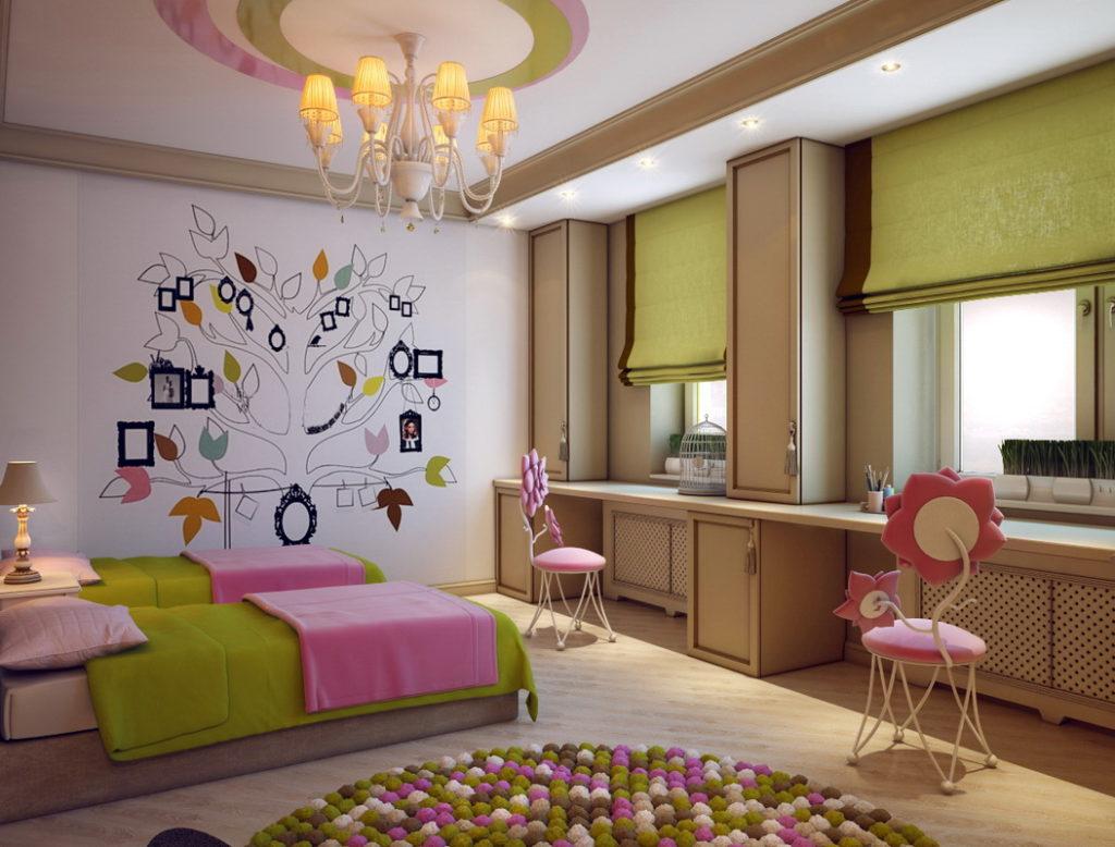 Мягкие стулья с розовой обивкой в спальне двух девочек