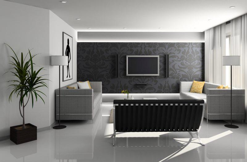 Два дивана в комнате стиля хай-тек