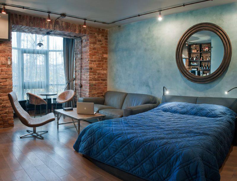 Дизайн совмещенной комнаты в 18 квадратов в индустриальном стиле