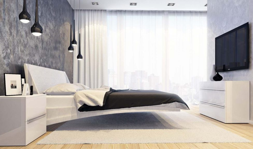 Дизайн спальни в стиле модерн с двумя типами обоев