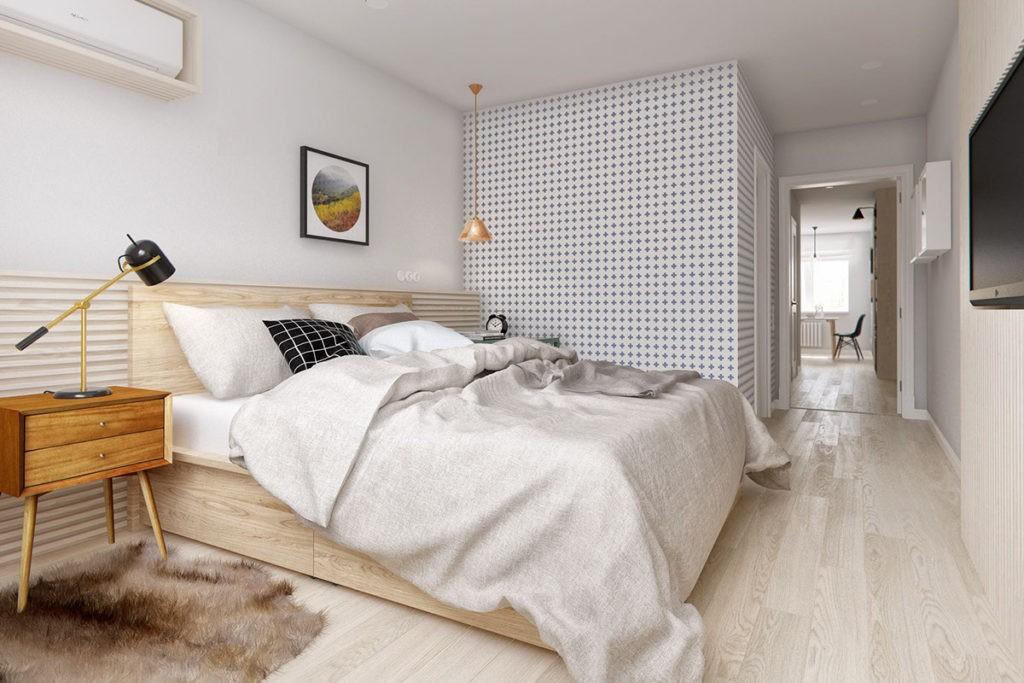 Интерьер спальни в скандинавском стиле с обоями
