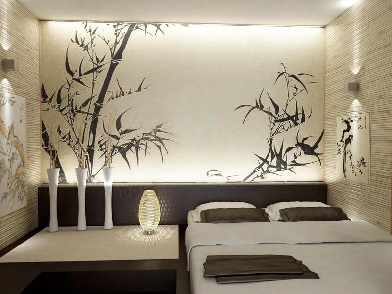 Японский стиль в спальне с двумя типами обоев