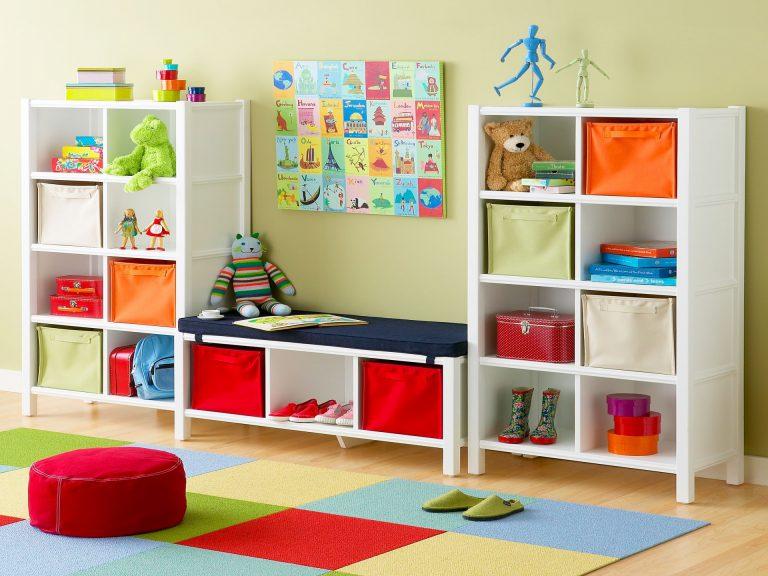 Открытый стеллаж для хранения детских игрушек