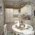 Стильная светлая кухня с белым обеденным столом