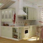 Стильное оформление кухни из дерева на мансардном этаже