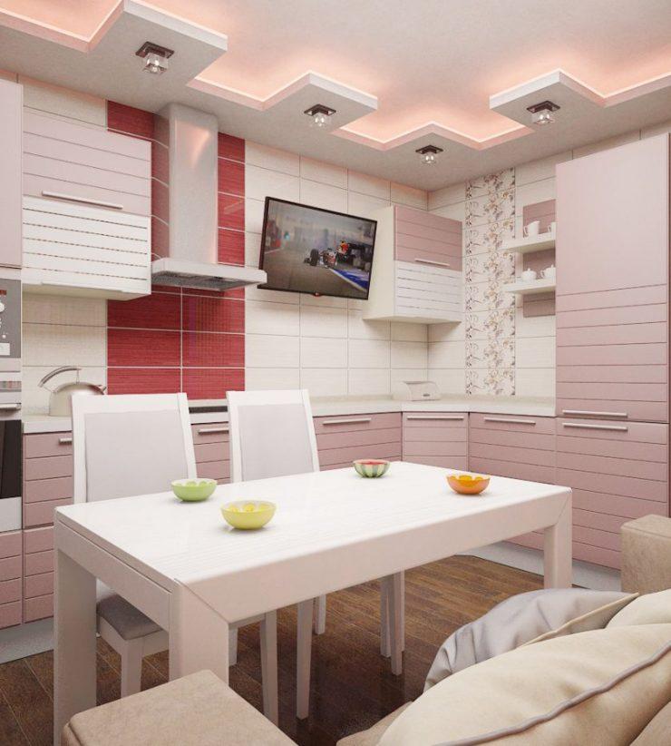 Потолок с выступами на кухне в стиле поп-арт