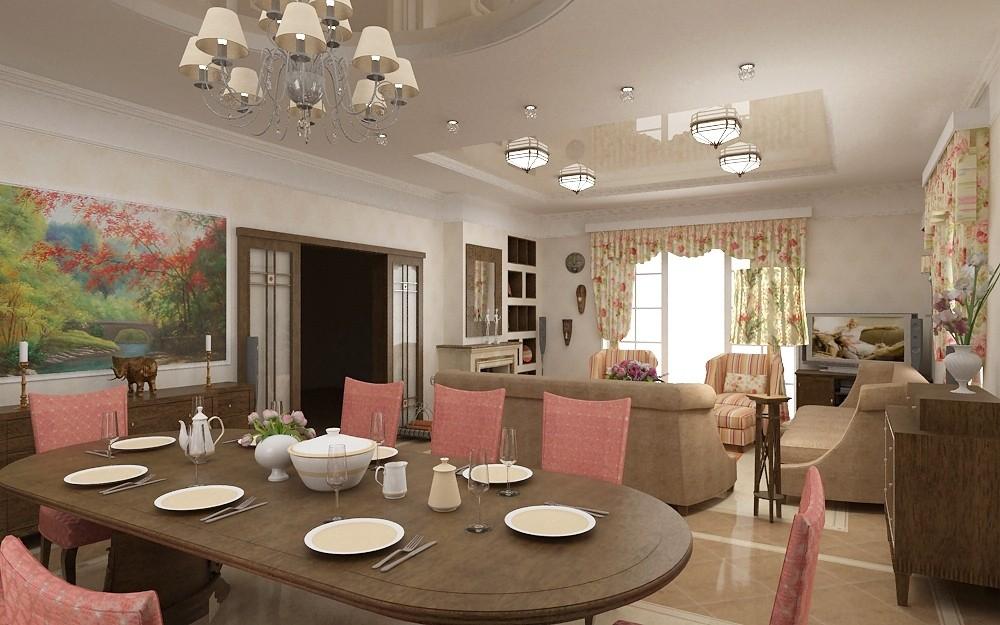 Комбинированный потолок в кухне-столовой