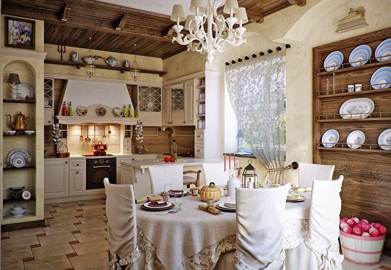 Декорирование помещения кухни с помощью посуды