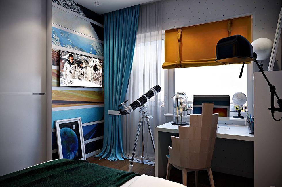 Оформление детской комнаты для юного любителя астрономии
