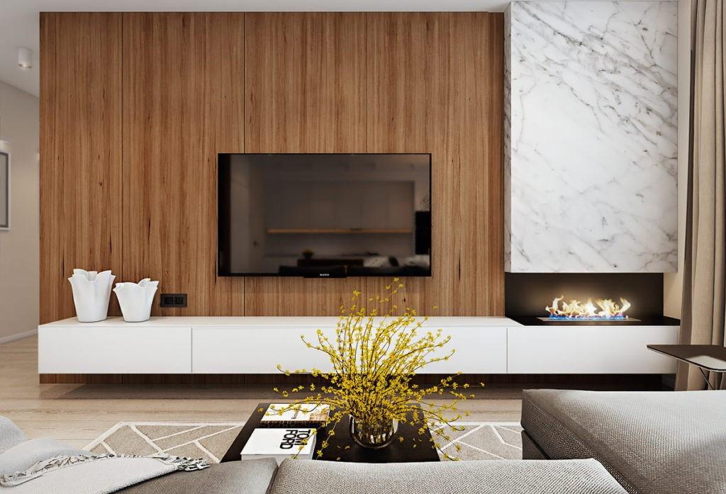 Оформление стены с телевизором в стиле минимализма