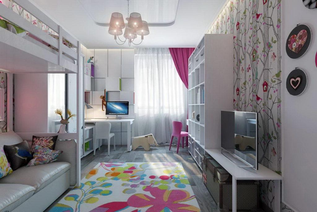 Телевизор в детской комнате для двух девочек