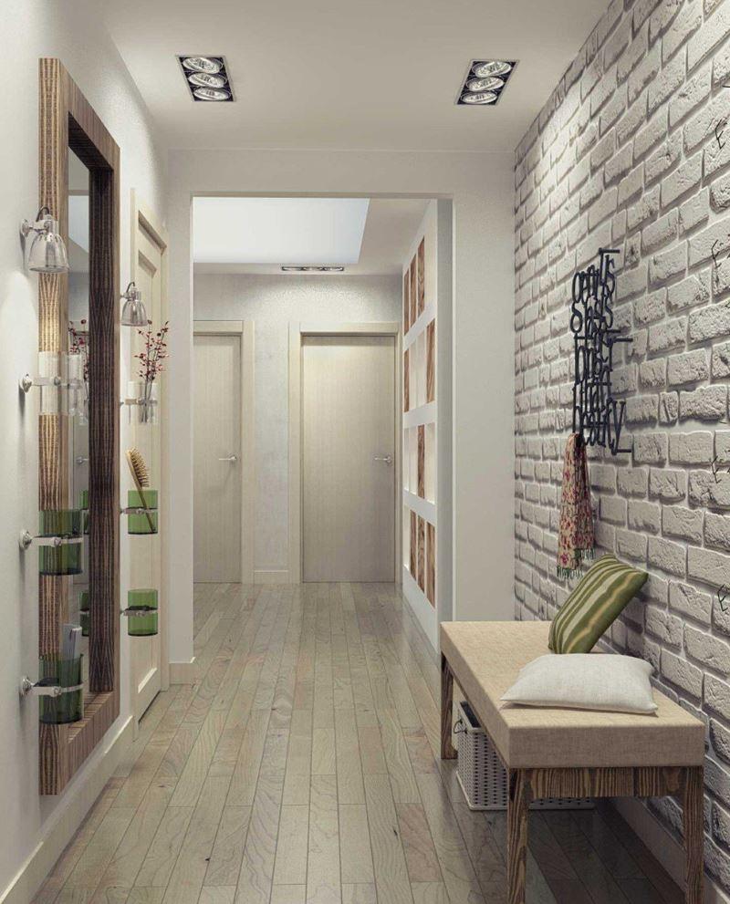 Белая кирпичная стена в дизайне узкого коридора