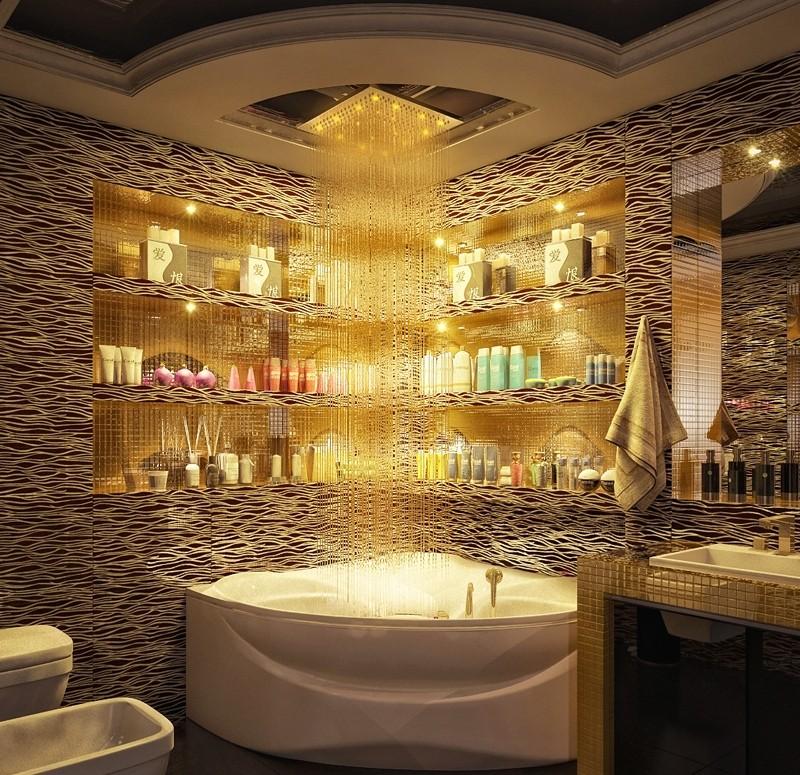 Тропический душ из потолка ванной комнаты