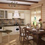 Угловая классическая кухня и обеденная зона в деревянном доме