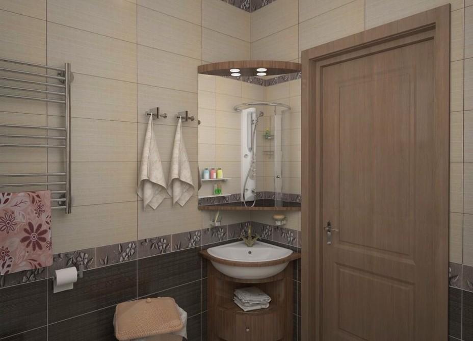 Угловой умывальник в современной ванной