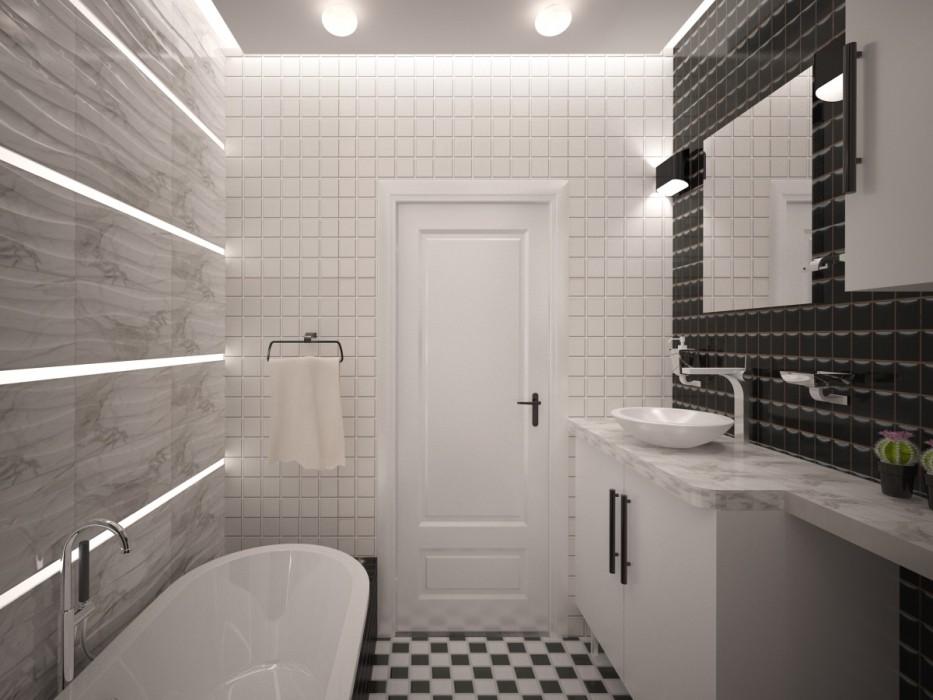 Небольшая ванная комната в стиле минимализма