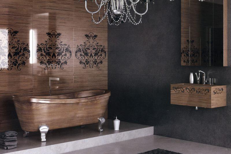 Дизайн модной ванной комнаты в стиле фьюжн