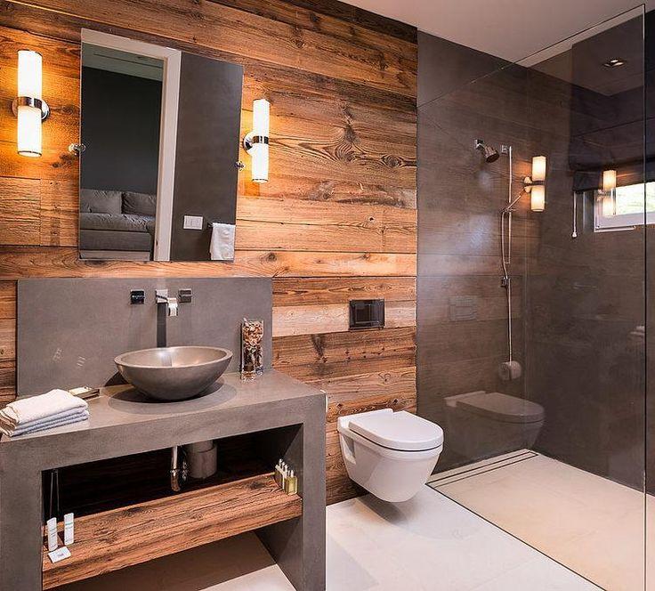 Деревянная стена в ванной стиля лофт