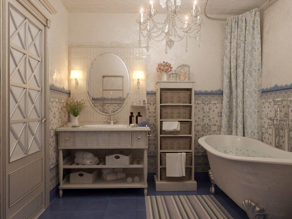 Уютная атмосфера ванной комнаты в стиле прованс