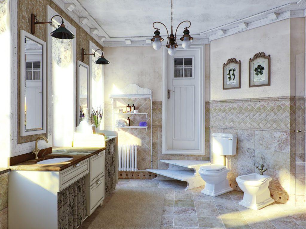Кованная люстра на потолке ванной