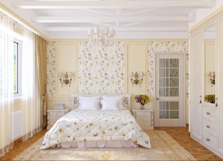 Спальня с рельефным потолком в светлых тонах
