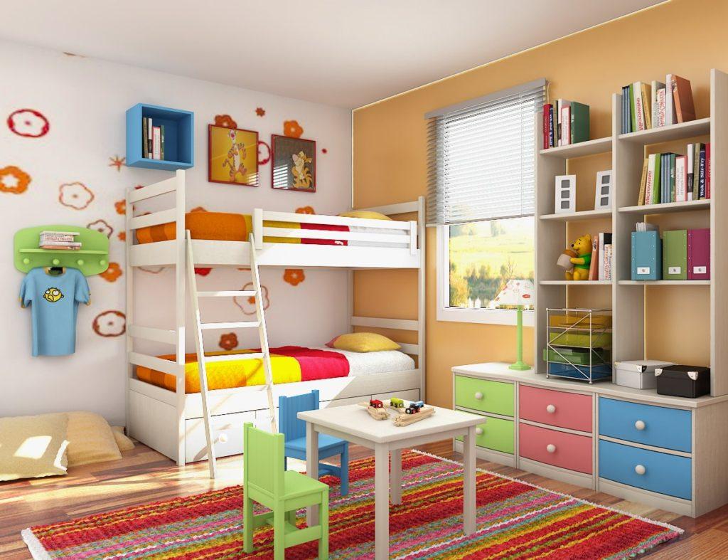 Двухъярусная кровать в детской спальне