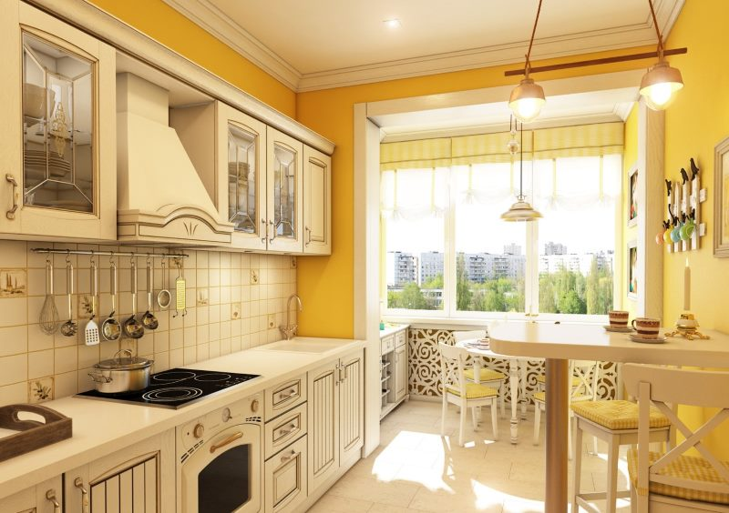 Яркая кухня в стиле кантри с балконом