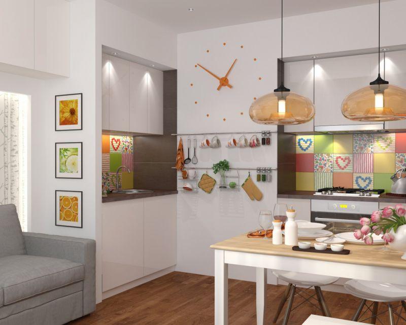 Кухонный фартук из разноцветной кафельной плитки