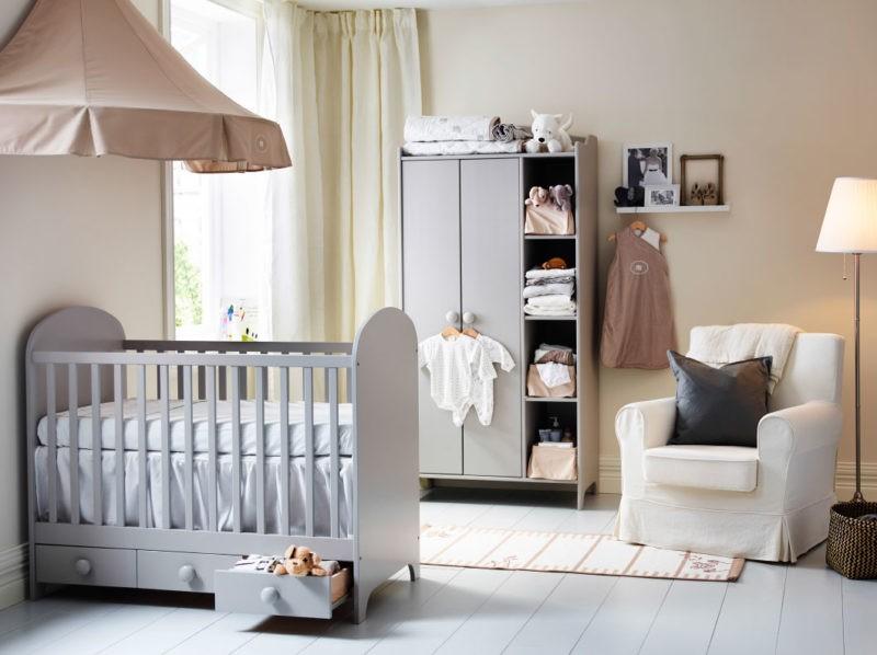 Интерьер комнаты для новорожденного в современном стиле