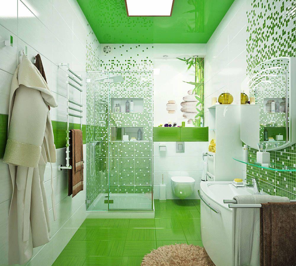 Оформление ванной комнаты в зеленых тонах