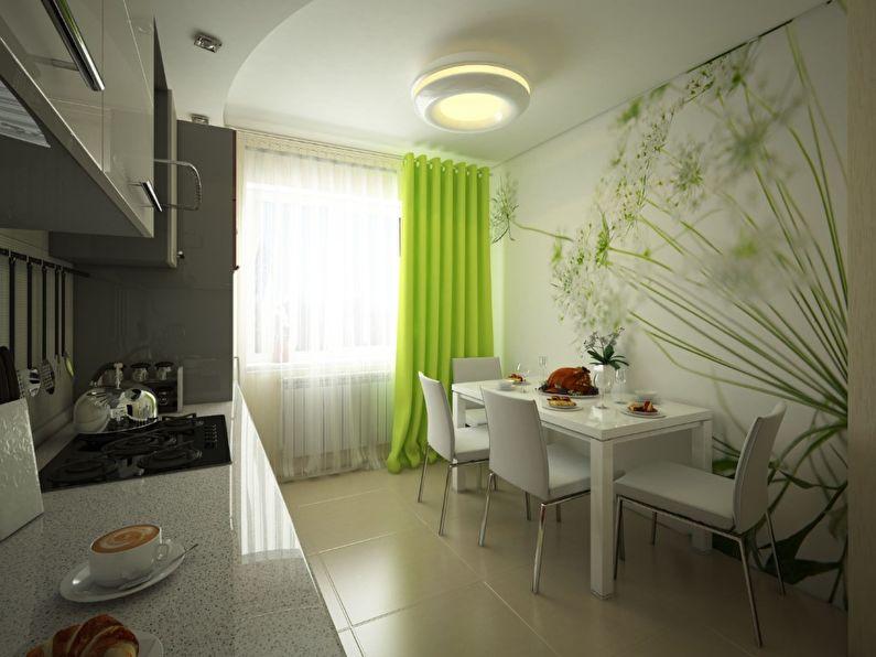Оформление стены фотообоями на кухне в 9 квадратов
