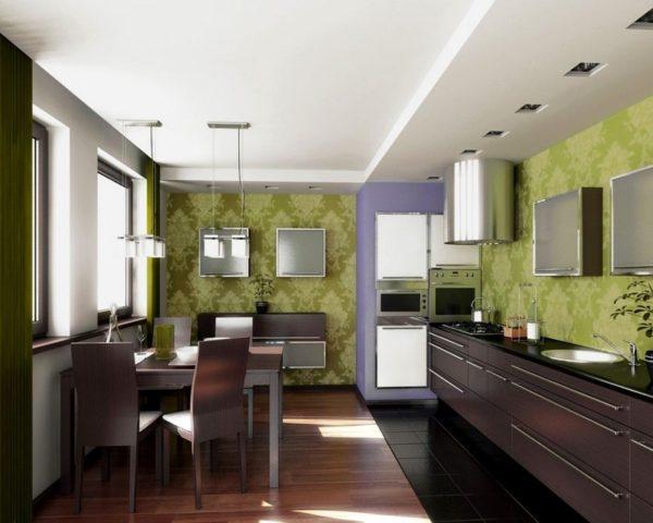Зеленые обои на кухне