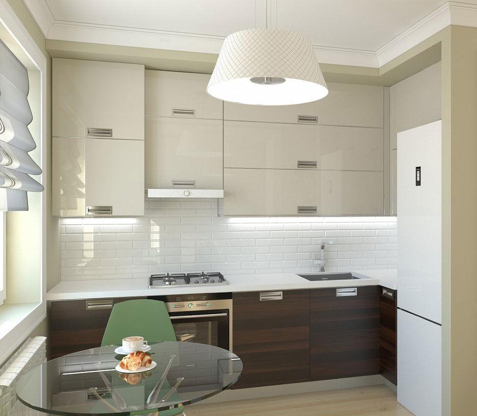 Круглый стеклянный стул в маленькой кухне