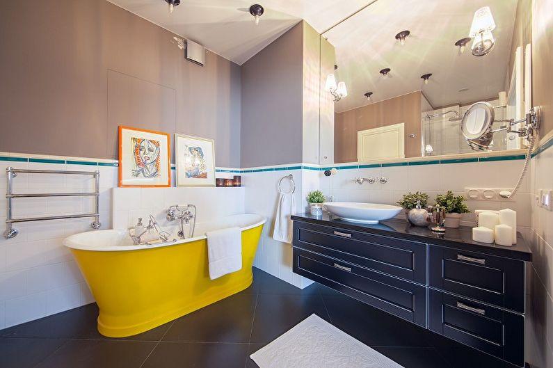 Желтая ванна в интерьере современного санузла