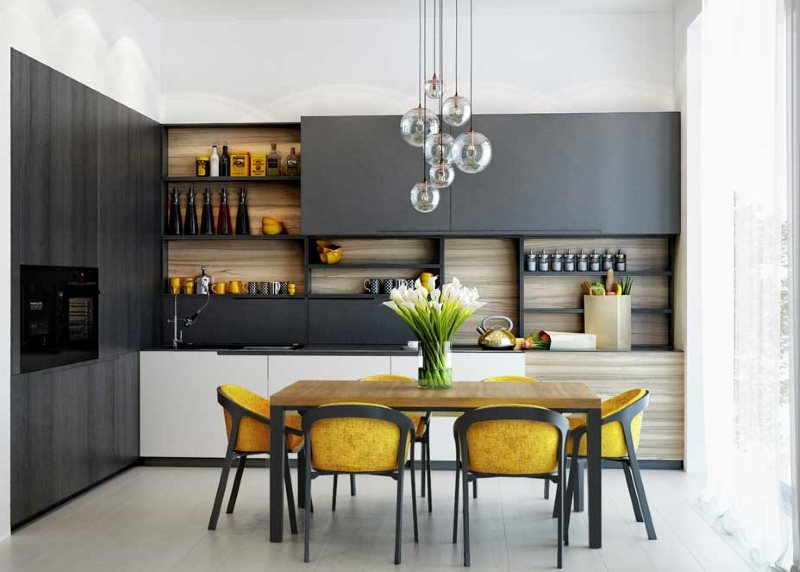 Желтые стулья на кухне с черным гарнитуром