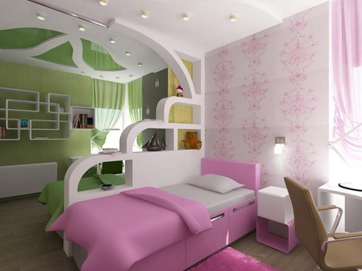 Зонирование детской комнаты легкой перегородкой