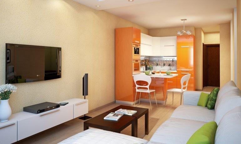 Оранжевый гарнитур угловой конфигурации