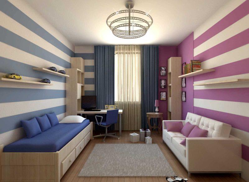Цветовое зонирование детской комнаты для двоих