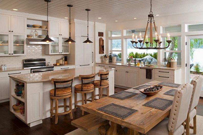 Зонирование кухни-столовой освещением