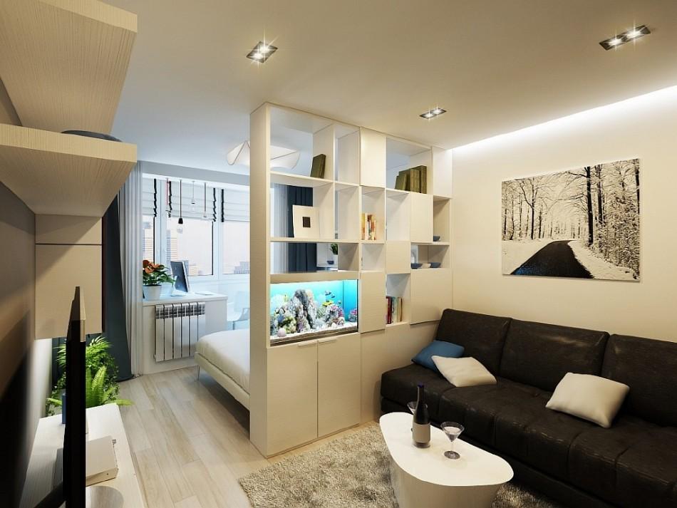 Стеллаж в качестве разделителя спальни и гостиной в комнате площадью 18 квадратов