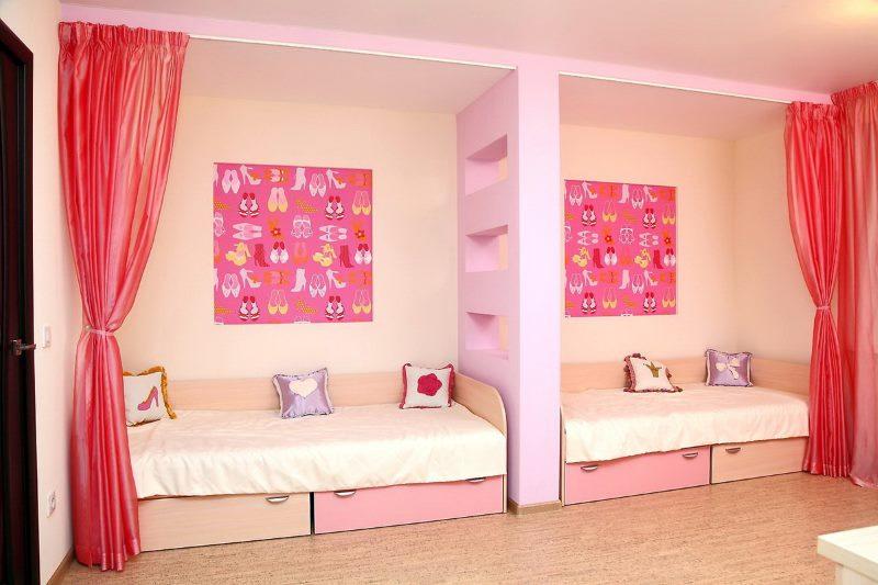 Зонирование комнаты девочек функциональной перегородкой