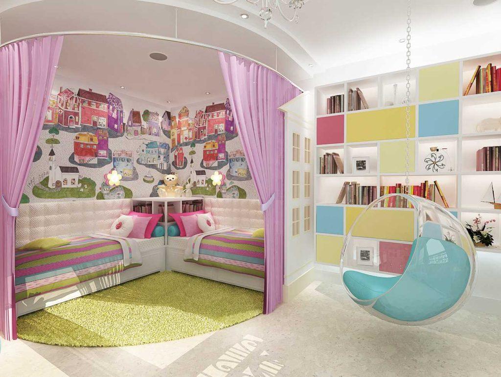 Отделение спальной зоны в детской с помощью занавесок