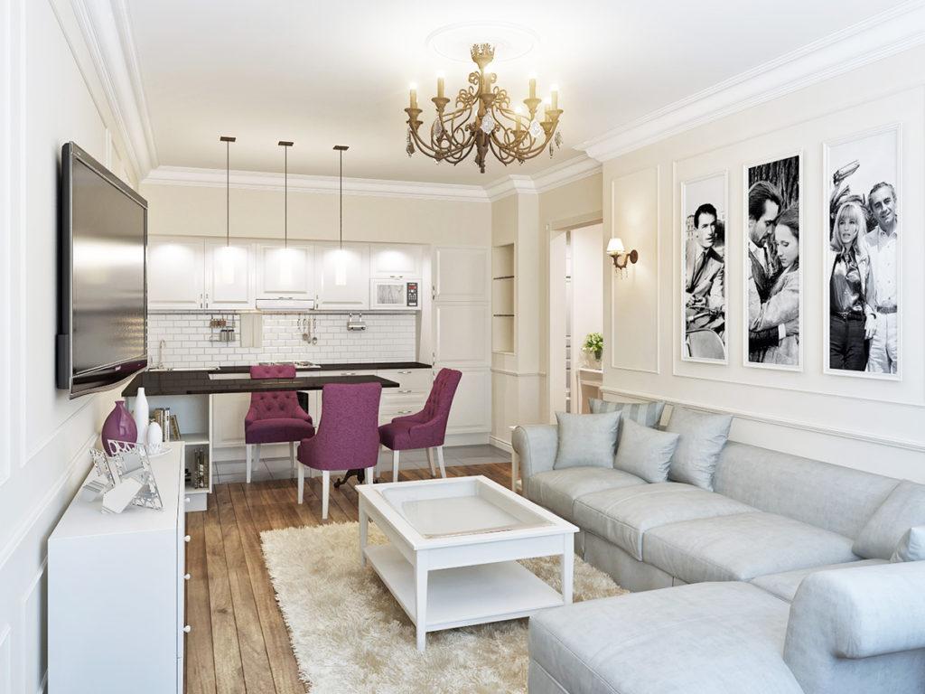Зонирование освещением кухни с диваном