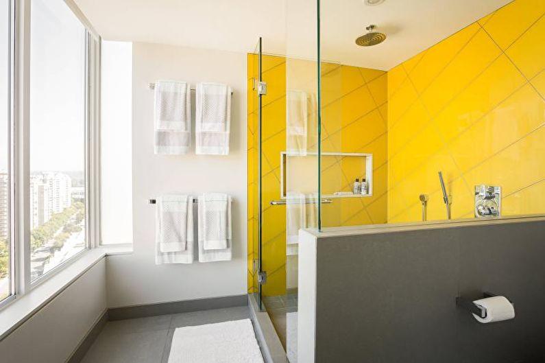 Зонирование ванной желтым цветом