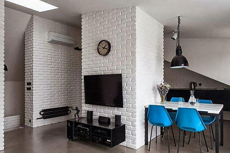 Отделка стен кухни-гостиной под силикатный кирпич