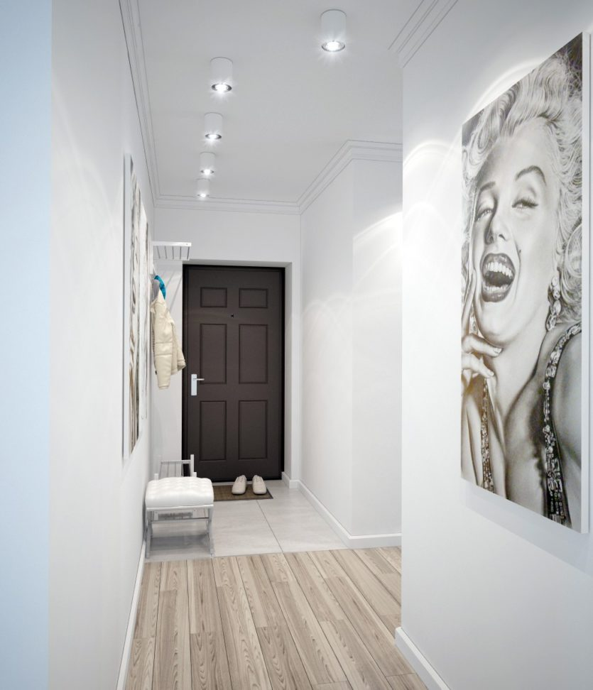 Белый коридор квартиры в стиле минимализма