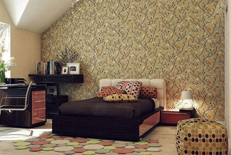 Бумажные обои на стене комнаты для подростка