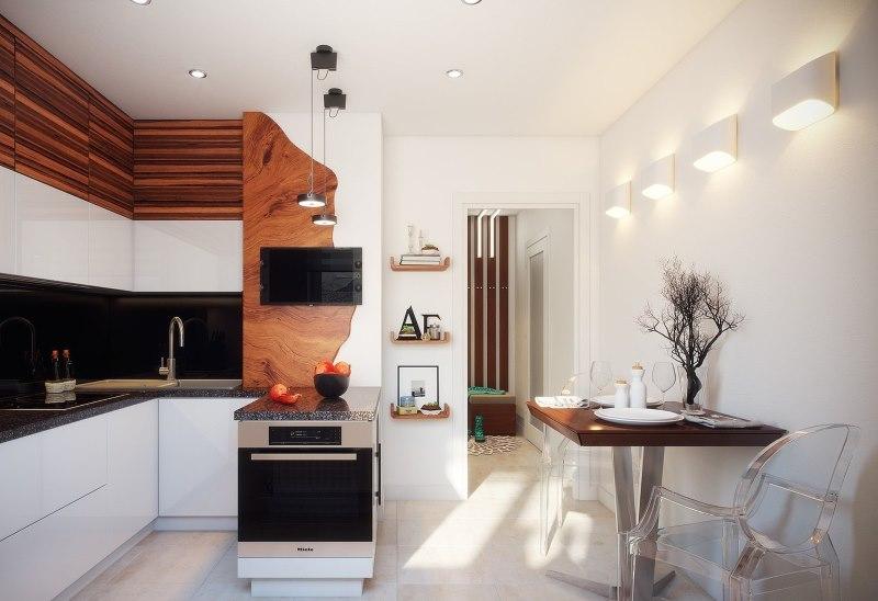Красивый интерьер кухни 10 квадратов в доме серии П 44