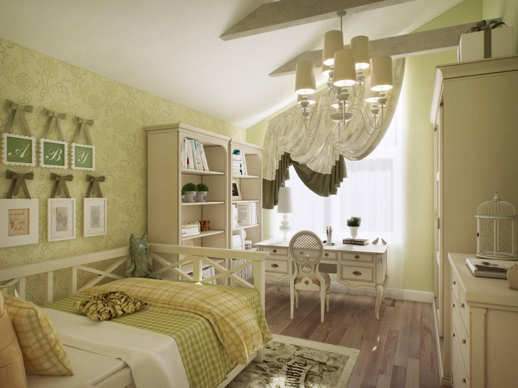 Деревянная мебель в детской комнате стиля прованс
